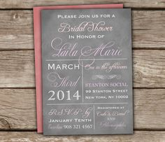 Vintage Style Typography Bridal Shower Invitations  by chitrap