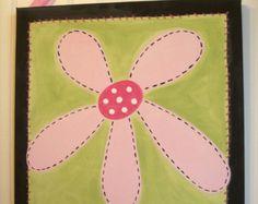 Flower garden canvas painting 11 x 14 Original by theivylane
