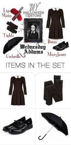"""DIY Wednesday Addams Costume"" by mandy-ruth ❤ liked on Polyvore featuring art"