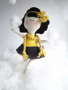 Cristina - child friendly cotton and felt kids Doll with knitting - handmade in Italy -. $44.00, via Etsy.