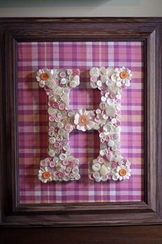 pink and orange button initial for a nursery, I was just ordering buttons to do this! Button Initial, Button Letters, Kids Birthday Crafts, Crafts For Kids, Craft Organization, My Little Girl, Inspirational Thoughts, Bead Crafts, Girl Nursery