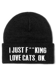 """Cats"" Beanie by Killstar (Black)"