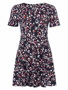 French Connection figure-skimming, brightly coloured print dress in stretchy fabric French Connection, Short Sleeves, Short Sleeve Dresses, Stretch Dress, Spring Summer 2018, Skater Dress, Hue, New Dress, Stretches