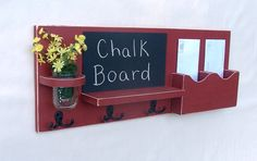 Mail Organizer - Mail and Key Holder - Chalkboard - Chalk board - Key Hooks -  Coat Rack - Wood on Etsy, $59.95