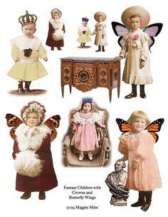 Whimsical Winged Children Digital Collage Sheet by MagpieMine Altered Images, Altered Art, Victorian Angels, Vintage Botanical Prints, Vintage Paper Dolls, Vintage Ephemera, Digital Collage, Digital Art, Collage Sheet