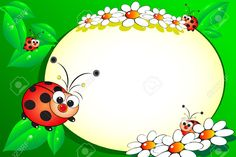 Illustration of Kid scrapbook with ladybug and white daisies - Photo or message frames for children vector art, clipart and stock vectors. Ladybug Art, Clip Art Pictures, Kids Scrapbook, Banner Printing, Writing Paper, Name Cards, Flower Crafts, Classroom Decor, Clipart