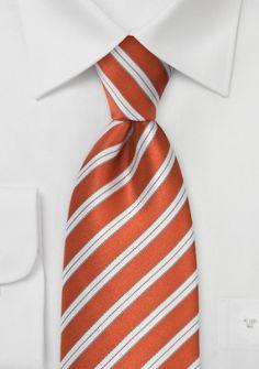 Krawatte orangerot italienisches Streifen-Dekor