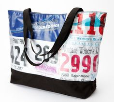 Awesome ideas for old race bibs and t-shirts!