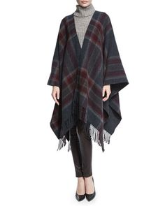 Saiome Plaid Wool-Blend Poncho by Theory at Neiman Marcus.