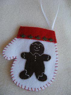 Gingerbread Man Felt Christmas Mitten by KraftyGrannysHome on Etsy, $5.50