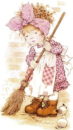 I don`t like sweep                                                                                                                                                                                 Más                                                                                                                                                                                 Más Clean Sweep, Clean Clean, Illustrator, Mary May, Childhood Memories, Sweet Memories, Niedliche Illustration, Holly Hobbie, Anne Of Green Gables