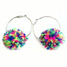 Sassy neon rainbow Pom Pom silver hoop earrings by themessybabes Depop and Etsy…