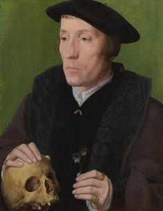 Follower of Jan van Scorel | A Man with a Pansy and a Skull, 1535 | Tutt'Art@ | Pittura * Scultura * Poesia * Musica |
