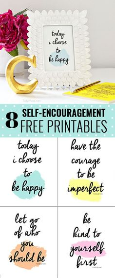 Today I Choose to Be Happy free printable. Visit TidyMom.net for 8 inspirational and self-encouragement printables - Brene Brown quotes.