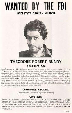 Dinge en Goete (Things and Stuff): This Day in Crime History: FEBRUARY 01, 1974 : SERIAL KILLER TED BUNDY STRIKES AGAIN