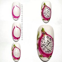<img> Write the name of this Fruit in your language and tag the friends who love it ! Fruit Nail Designs, French Nail Designs, Nail Art Designs, Toe Nail Color, Nail Colors, Bright Toe Nails, Acrylic Nails Coffin Pink, Fruit Nail Art, Nail Art For Beginners