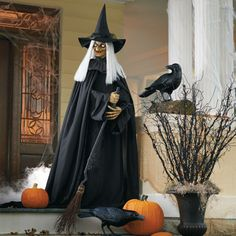 Shop Grandin Road Halloween Haven for entire Halloween Graveyard Scenes and other Halloween Decoration Kits from frightful to delightful. Halloween Witch Decorations, Halloween Scene, Theme Halloween, Outdoor Halloween, Fall Halloween, Happy Halloween, Halloween Ideas, Halloween Witches, Halloween Stuff