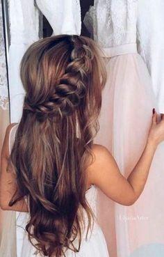 35 Trendy Wedding Hairstyles For Long Hair Brunette Eyes Boho Wedding Hair, Long Hair Wedding Styles, Short Hair Styles Easy, Short Hair Updo, Trendy Wedding, Wedding Makeup, Wedding Vintage, Wedding Hair With Braid, Toddler Wedding Hair