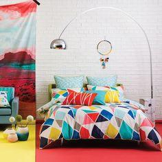 Quilt cover set doona duvet queen size trapeze kas cotton 2 x pillowcases A Linen Bedding, Bedding Sets, Bed Linens, Quilt Sets Queen, Geometric Tiles, Quilt Cover Sets, Soft Furnishings, Home Decor Inspiration, Decor Ideas