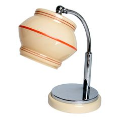 """Marianne Brandt (1930s/Germany) - A beautiful Marianne Brandt """"tast-licht"""" table lamp.  Ingenious little lamp that switches on and off with a touch of the metal base. (would be cute on kitchen counter)"""