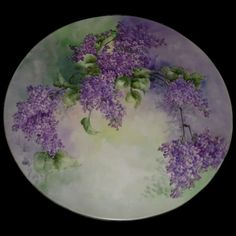 Gorgeous Large 16 Hand Painted Antique Limoges Porcelain Plaque Tray Charger with Lilacs. Decoupage Plates, Old Plates, Antique Plates, Painted Porcelain, China Porcelain, Hand Painted, China Painting, Lilacs, Fabric Painting