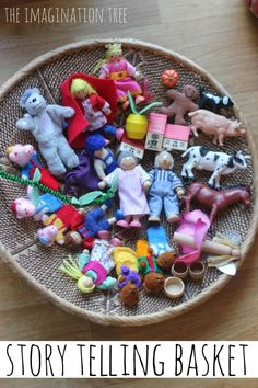 Keep a basket of small toys and figures for visual storytelling. | 31 Clever And Inexpensive Ideas For Teaching Your Child At Home
