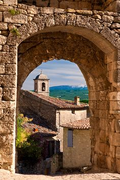 Entry arch to Lacoste, a commune in the Provence-Alpes-Côte d'Azur, France