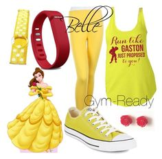 """Belle - Gym Ready (a Disney-Inspired Outfit)"" by one-little-spark ❤ liked on Polyvore featuring Disney, Converse, Fitbit, disney and disneybound"