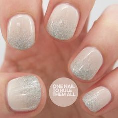 Soft and delicate silver glitter nails.: