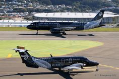 Air New Zealand black Livery A320 and Beech 1900 D