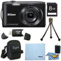 Review Cheap Nikon COOLPIX S3300 16MP 6x Opt Zoom 2.7 LCD 8GB Black Bundle