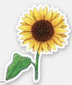 'Sunflower with stem and green leaf sticker' Sticker by MheaBuy 'little sunflower' by stickersnstuff as a Sticker.Shop from unique Flowers Stickers on Redbubble. Diy Stickers, Printable Stickers, Laptop Stickers, Tumblr Sticker, Yellow Sunflower, Unique Flowers, Aesthetic Stickers, Transparent Stickers, Glossier Stickers