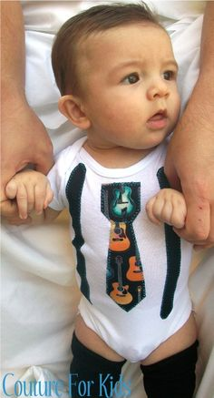 Tie Onesie with Suspenders Rock and Roll Baby by CoutureForKids, $17.50