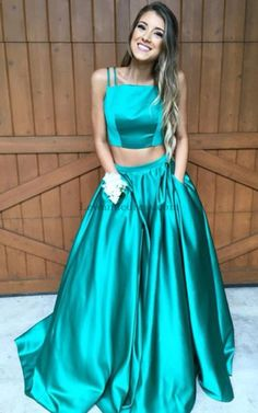 Long Two Piece Spaghetti Straps Satin Prom Dress with Pockets 50295  Gorgeous Prom Dresses 095fdba2c037