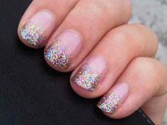 Glitter nails. This would be cute for my 12-year-old.