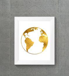 Gold Foil Globe World Globe World Map World Map by MyntPrintables
