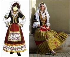 Traditional Clothes of Sardinia, Italy