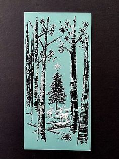 Nordic wiccan 12 nights of yule yule winter solstice vintage glitter sample xmas greeting card deer by a stunning xmas tree in forest m4hsunfo