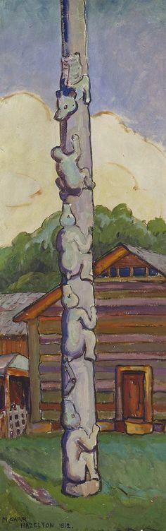 Indian Totem pole, Hazelton, Skeena River, BC. 1912. Emily Carr