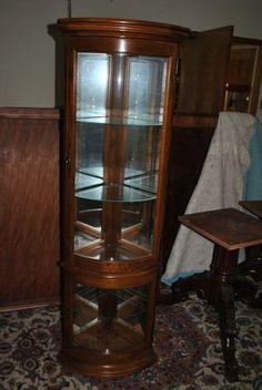 Petite Mahogany 4 Shelf Curved Corner Display Cabinet Curio by Pulaski