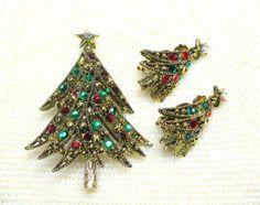 Vintage Hollycraft Rhinestone Christmas Tree Brooch/ and Earrings, Signed Hollicraft Christmas Tree
