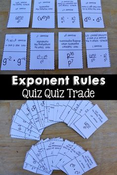 Get your students moving with these exponent rules quiz quiz trade cards. Some cards have students using a single rule, while others challenge them to use multiple rules. Every card has either a hint or a bonus on the back!