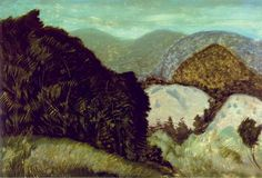 """Vermont Hills,"" Milton Avery, 1936, oil on canvas, 32 x 48"", Rose Art Museum."