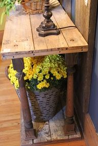 lumber  spindles = entry, sofa or hall table