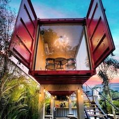 Great application of a container project used to create a restaurant - Architektur - Container Hotel, Building A Container Home, Container Buildings, Container Architecture, Architecture Design, Ideas Cabaña, Shipping Container Home Designs, Shipping Containers, Duplex