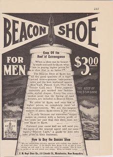 Free Vintage Clipart, Vintage Magazine Ads and Vintage Artwork Perfect for Home & Man-Cave Decor: Vintage 1906 Beacon Shoe for Men Original Print Ad Fashion Manchester NH