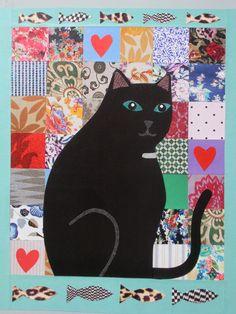 Black Cat 1 (cut paper collage) by Amanda White. www.amndawhite-contemporarynaiveart.com