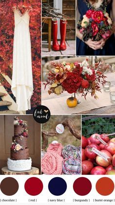 I really like this Fall palette!! Love love the Galoshes!  Autumn wedding colours palette,Burnt orange burgundy navy blue wedding colors palette