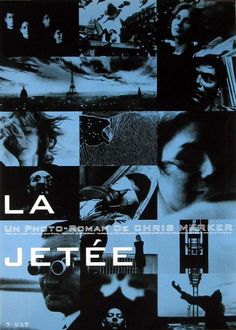 "La jetée, 1962 - A short 17 minute French film by Chris Marker made from the director's collection of photos.  It is a story about love, loss and time travel.  This movie inspired  the movie ""12 Monkeys""."