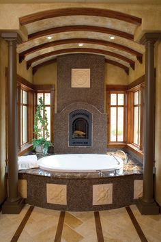 Awesome bathroom with spa tub and fireplace - plan 101S-0005